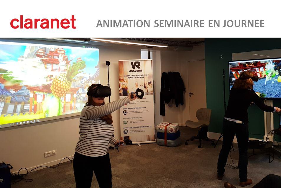 Idée activité séminaire en réalité virtuelle avec CLARANET